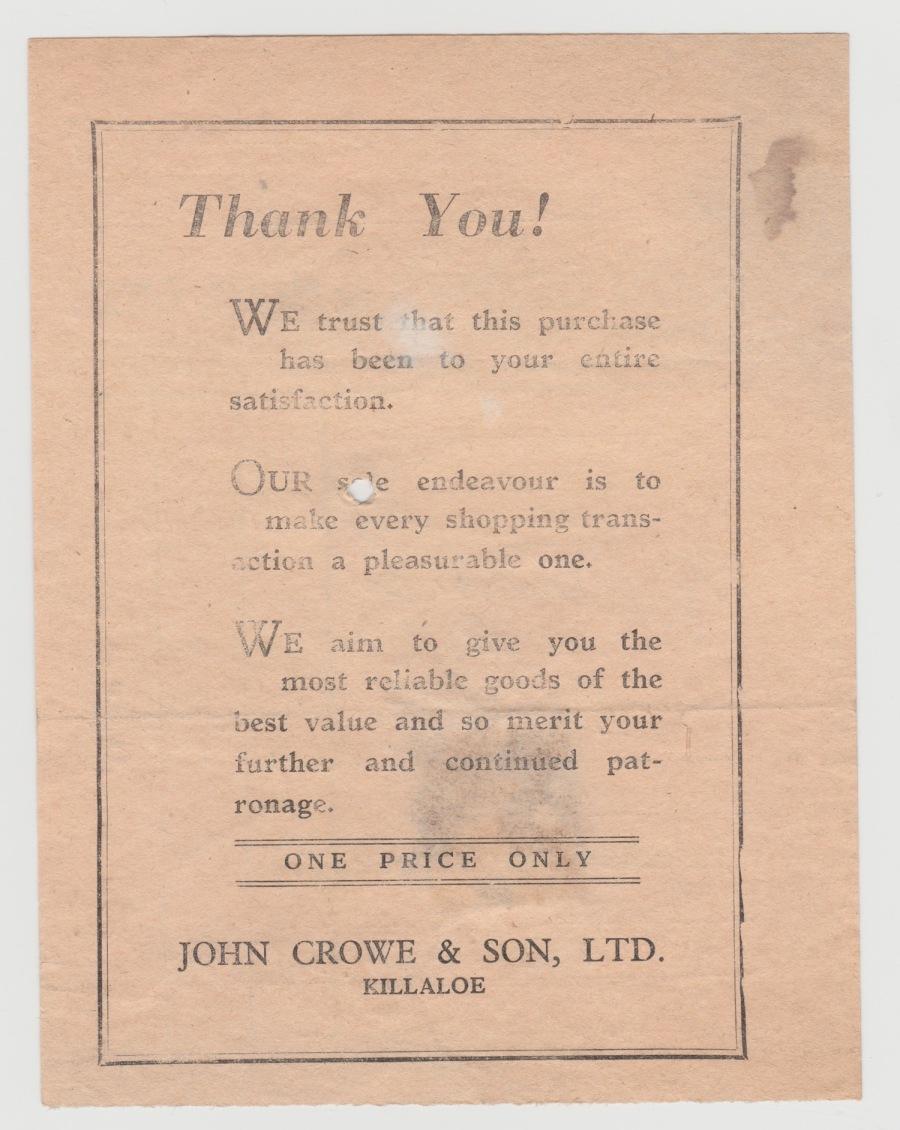 John Crowe Receipt Back 1959