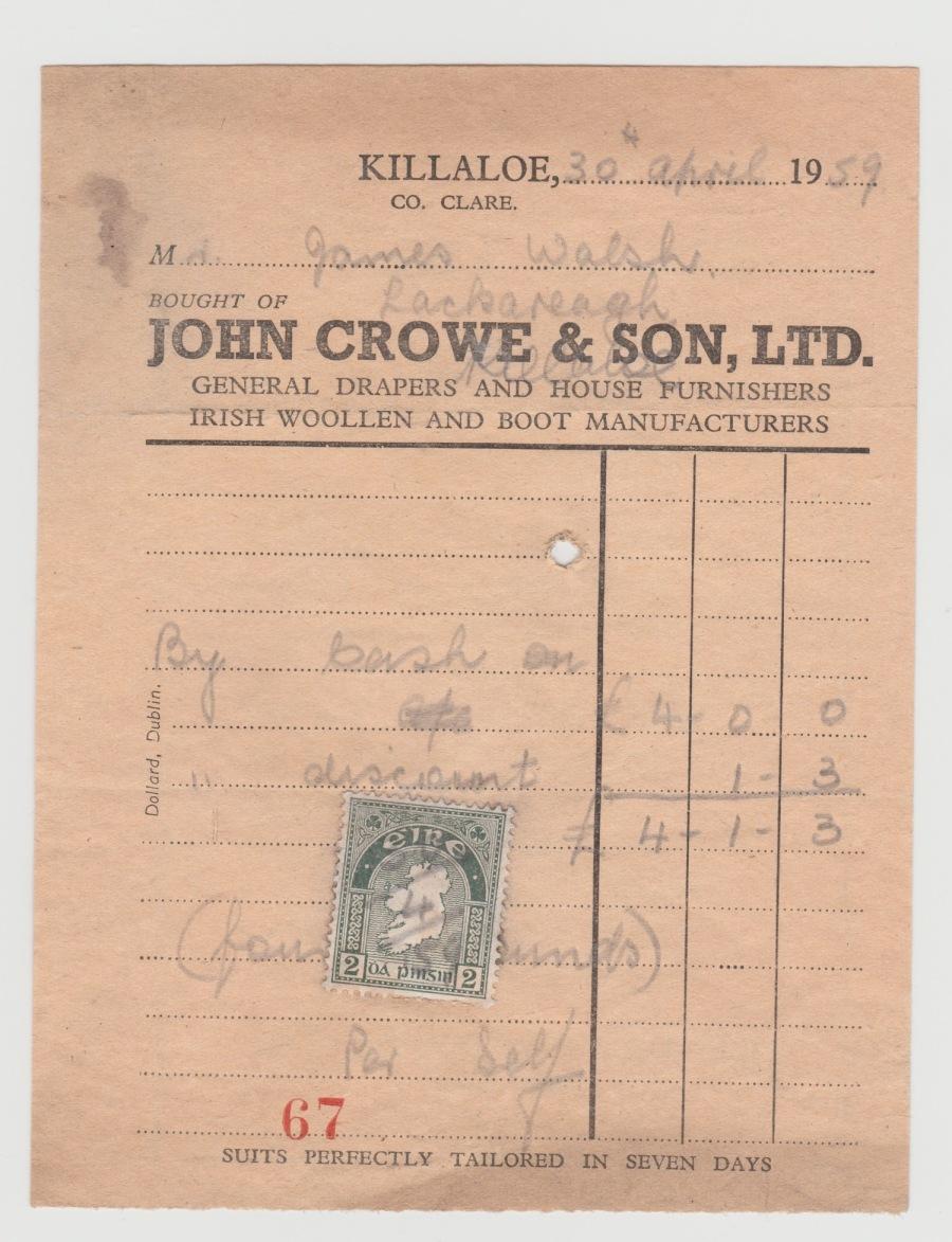John Crowe Receipt Front 1959