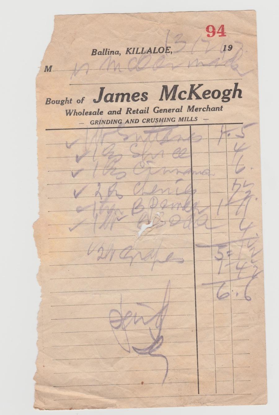 McKeoghs Receipt 1947
