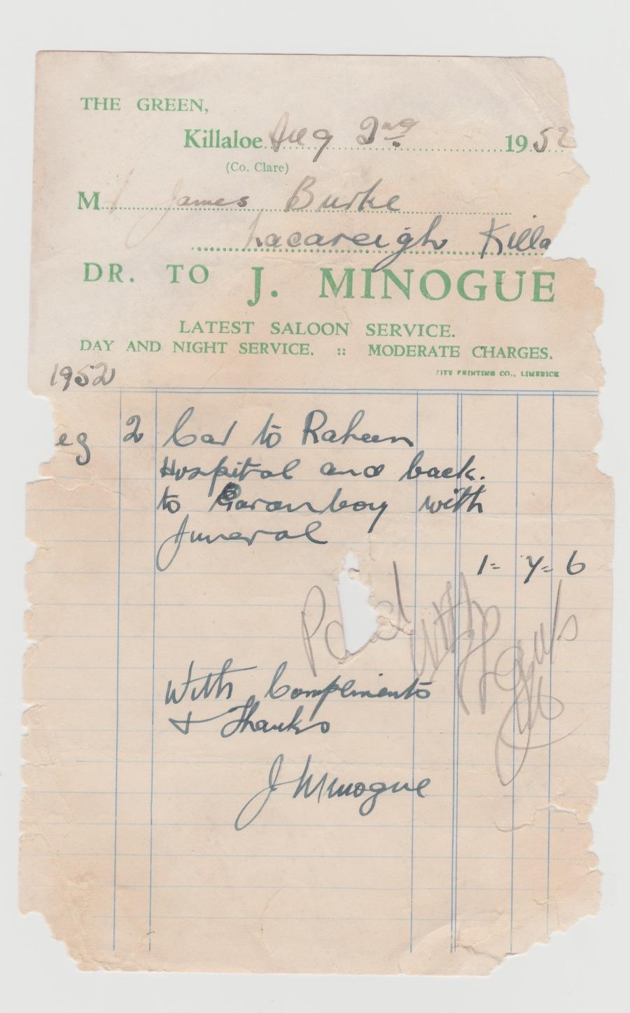 Minogues Receipt 1952