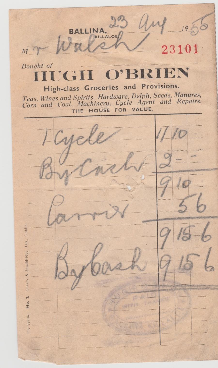OBriens Ballina Receipt 1955