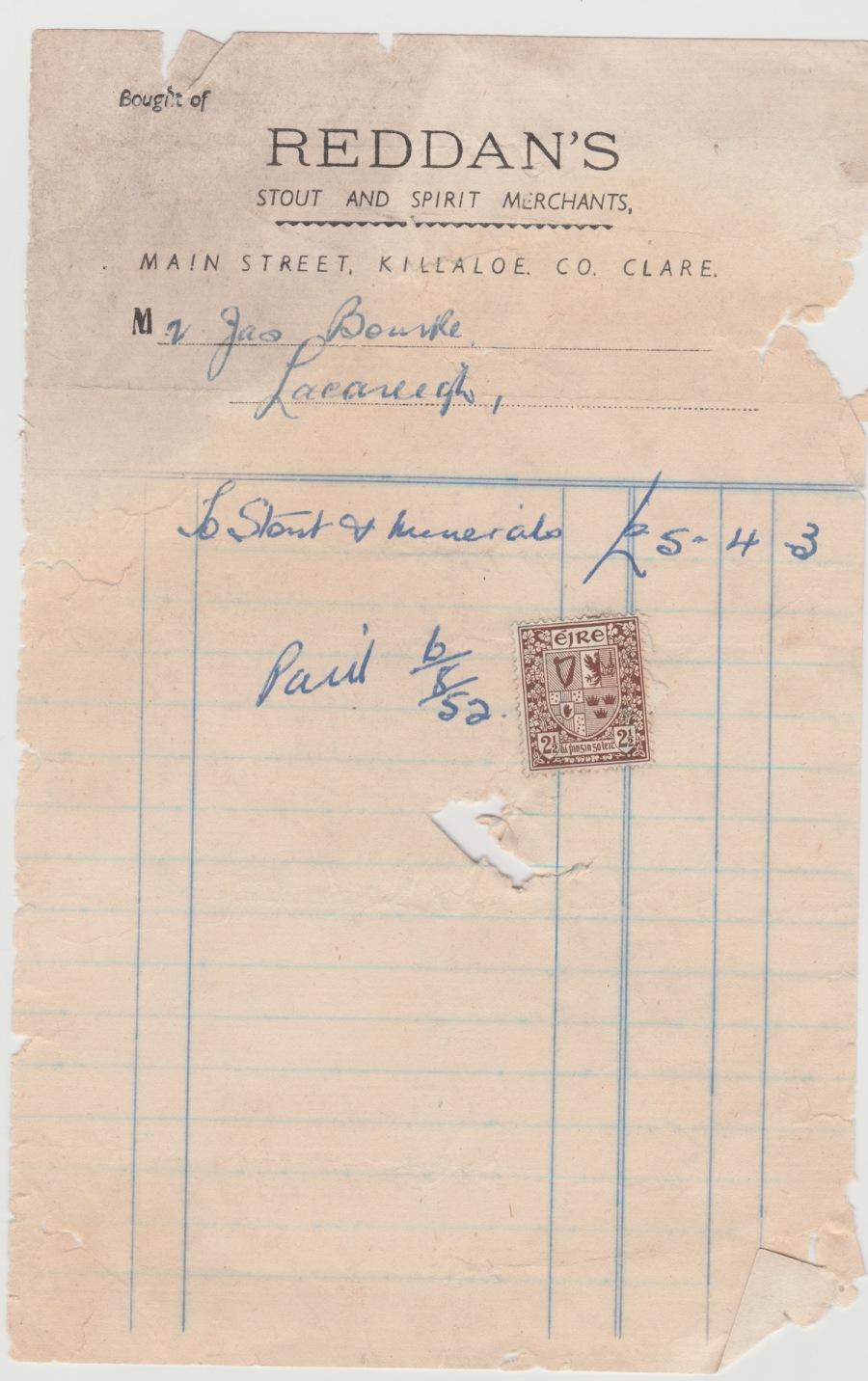 Reddans Receipts 1952