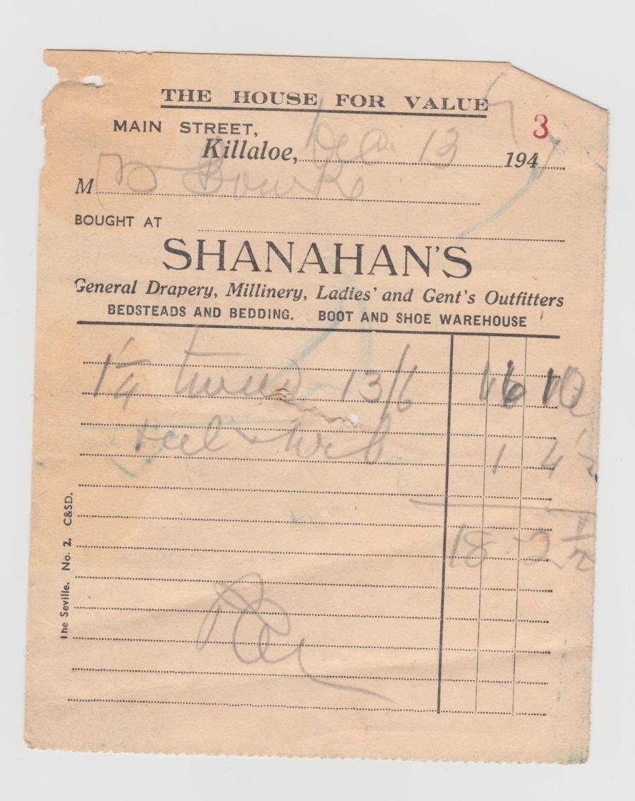 Shanahans Receipt 1947